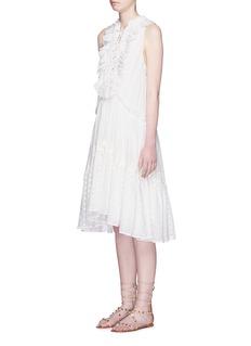 CHLOÉLace-up frill V-neck tiered dress