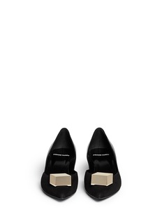 PIERRE HARDY Cube metal plate suede leather pumps
