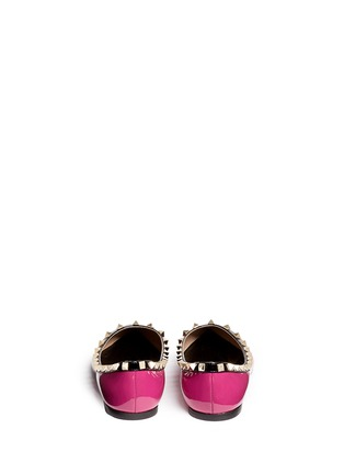 Back View - Click To Enlarge - Valentino - 'Rockstud' colourblock patent leather skimmer flats