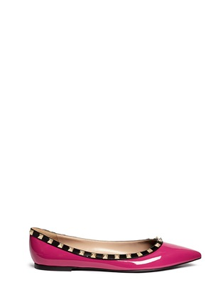 Main View - Click To Enlarge - Valentino - 'Rockstud' colourblock patent leather skimmer flats