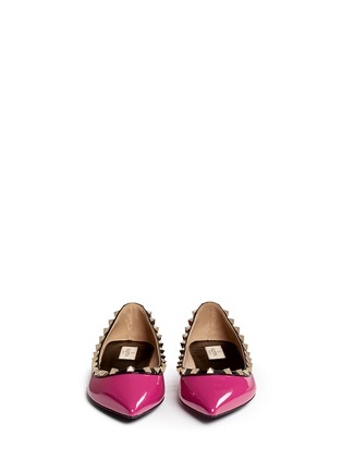 Figure View - Click To Enlarge - Valentino - 'Rockstud' colourblock patent leather skimmer flats