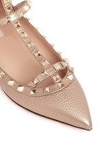 'Rockstud' metallic caged leather flats