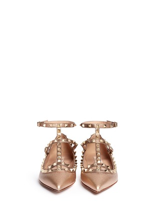 Valentino - 'Rockstud' metallic caged leather flats