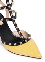 'Rockstud' colourblock patent leather caged pumps