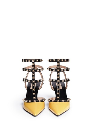 Figure View - Click To Enlarge - Valentino - 'Rockstud' colourblock patent leather caged pumps
