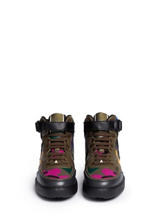 VALENTINOCamouflage print canvas leather high top sneakers