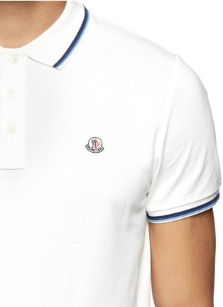 Detail View - Click To Enlarge - Moncler - Contrast trim logo embroidery polo shirt
