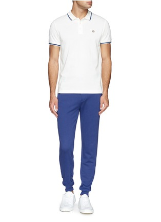 Figure View - Click To Enlarge - Moncler - Contrast trim logo embroidery polo shirt