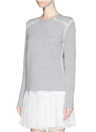 Front View - Click To Enlarge - Chloé - Blanket stitch cashmere cotton sweater