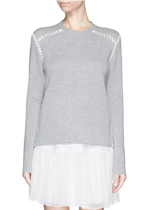 Main View - Click To Enlarge - Chloé - Blanket stitch cashmere cotton sweater