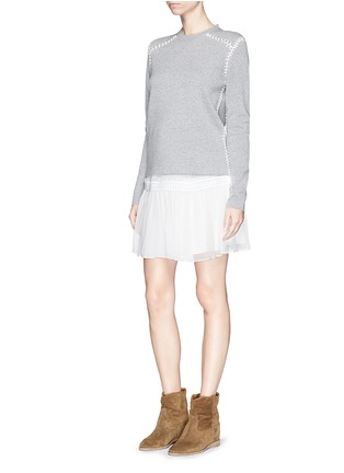 Figure View - Click To Enlarge - Chloé - Blanket stitch cashmere cotton sweater