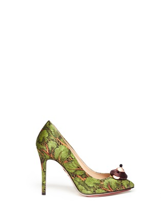 CHARLOTTE OLYMPIA - Enchanted Forest print teddy bear satin pumps