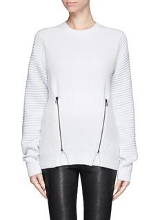 OPENING CEREMONYDouble zip contrast rib wool sweater