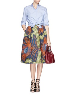 STELLA JEAN 'Irma' abstract peacock feather print structured skirt