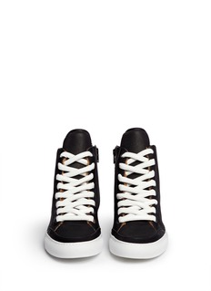 MM6 MAISON MARTIN MARGIELA Micro diamond perforation panel shearling leather sneakers