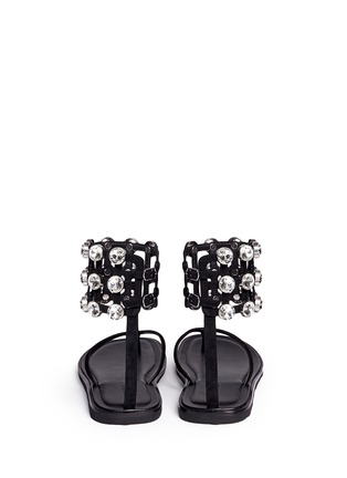 Back View - Click To Enlarge - Alexander Wang  - 'Aubrey' glass crystal ankle cuff leather sandals