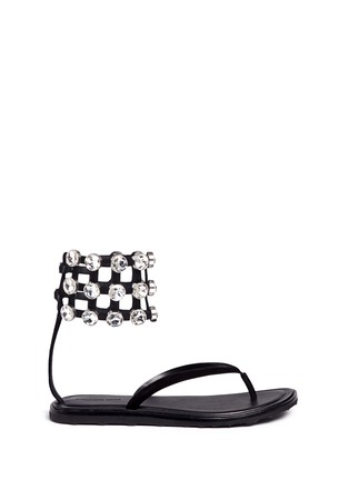 Main View - Click To Enlarge - Alexander Wang  - 'Aubrey' glass crystal ankle cuff leather sandals