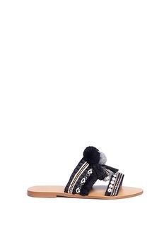 PEDDER RED流苏毛球装饰平底拖鞋