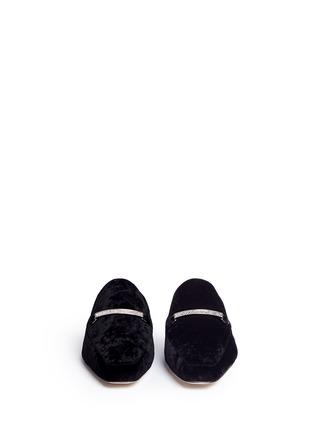 Front View - Click To Enlarge - Pedder Red - 'Kris' strass pavé link velvet loafer slides
