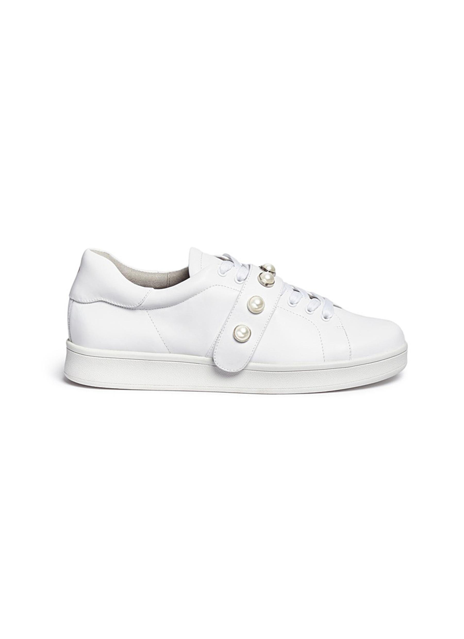 x Fleamadonna Faux pearl leather sneakers by Pedder Red