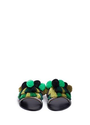 Front View - Click To Enlarge - Pedder Red - Pompom fringe slide sandals