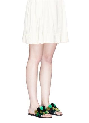 Figure View - Click To Enlarge - Pedder Red - Pompom fringe slide sandals