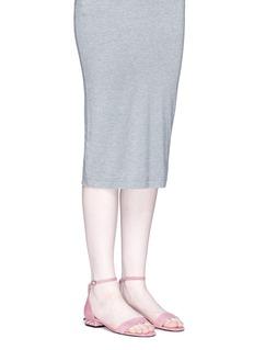 PEDDER RED x Fleamadonna人造珍珠缀饰绒面真皮凉鞋