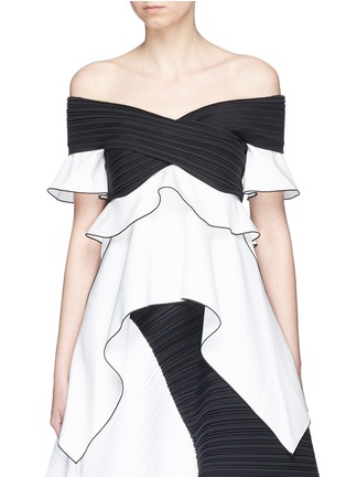 Main View - Click To Enlarge - Proenza Schouler - Off-shoulder pleated ruffled crepe top
