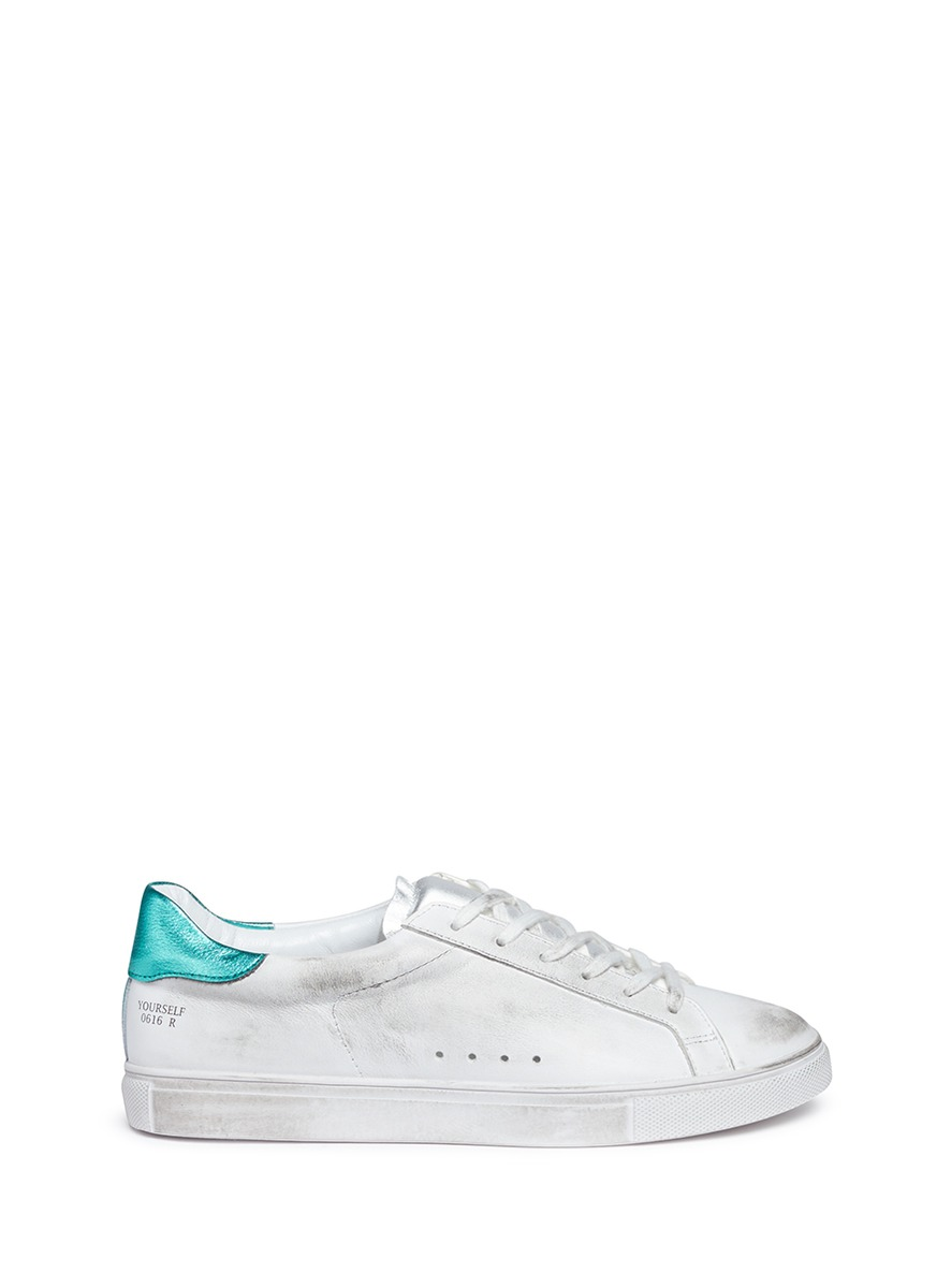 Louis smudged leather sneakers by Pedder Red