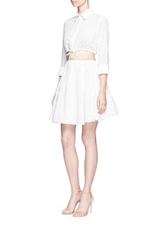 Alaïa 'Voile Pastilles' broderie anglaise cropped drawstring shirt