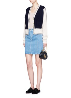 Chloé Scalloped seam cotton denim skirt