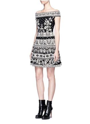Figure View - Click To Enlarge - Alexander McQueen - Floral jacquard knit off-shoulder top