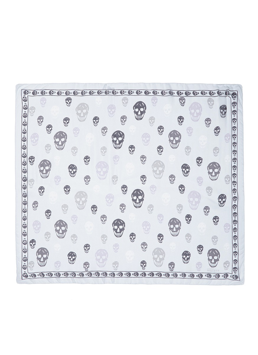 Bicolour skull silk chiffon scarf by Alexander McQueen