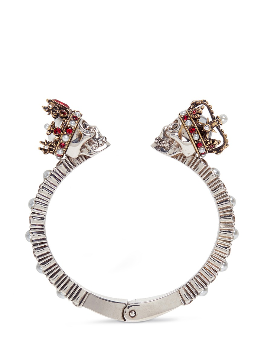 King and Queen skull Swarovski crystal cuff by Alexander McQueen