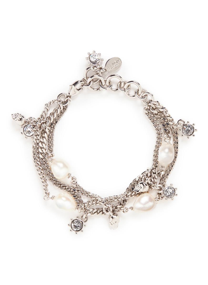 Swarovski crystal skull and pearl bracelet by Alexander McQueen