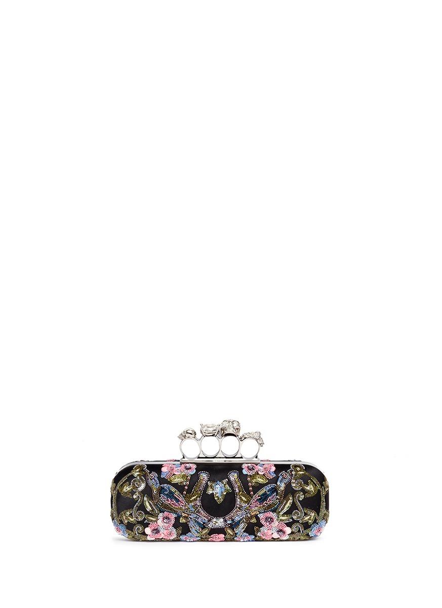 Caravan embellished satin skull knuckle clutch by Alexander McQueen