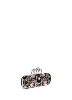 Alexander McQueenCaravan embellished satin skull knuckle clutch