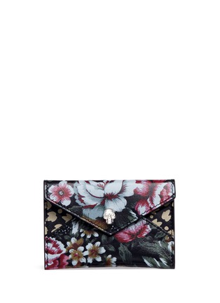 Main View - Click To Enlarge - Alexander McQueen - Skull floral print leather envelope card holder