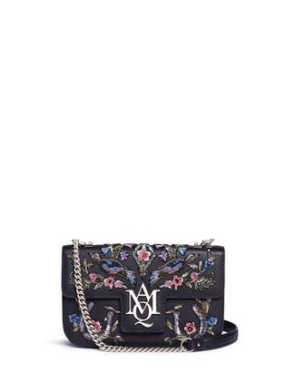 Main View - Click To Enlarge - Alexander McQueen - 'Insignia' floral and bird embellished leather satchel