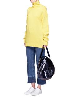 A-EsquePetal Pure' split handle colourblock leather bag