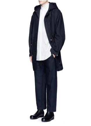 Figure View - Click To Enlarge - Uma Wang  - 'Pigiama' drawstring waist herringbone pants