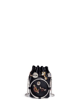 Detail View - Click To Enlarge - Alexander McQueen - Obession charm crystal embroidered leather bucket bag