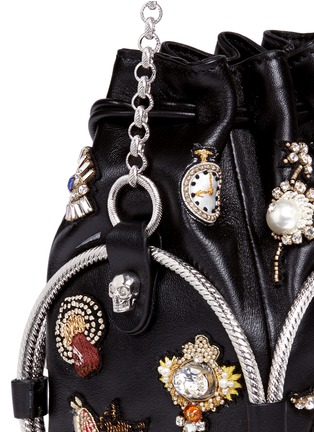 - Alexander McQueen - Obession charm crystal embroidered leather bucket bag