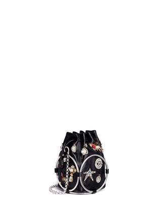 Figure View - Click To Enlarge - Alexander McQueen - Obession charm crystal embroidered leather bucket bag