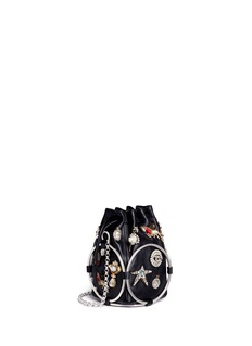 Alexander McQueen Obession charm crystal embroidered leather bucket bag