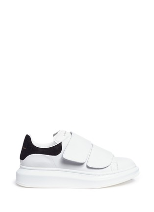 Main View - Click To Enlarge - Alexander McQueen - Chunky outsole suede collar leather sneakers