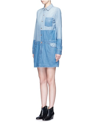 Front View - Click To Enlarge - Current/Elliott - 'The Whitney' patchwork denim shirt dress