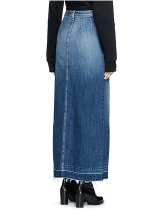 Back View - Click To Enlarge - Current/Elliott - 'The Sally' raw hem button denim skirt