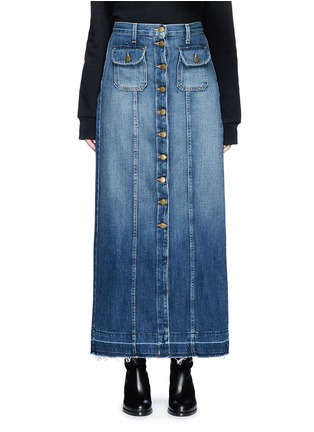 Main View - Click To Enlarge - Current/Elliott - 'The Sally' raw hem button denim skirt