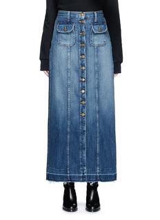 Current/Elliott'The Sally' raw hem button denim skirt